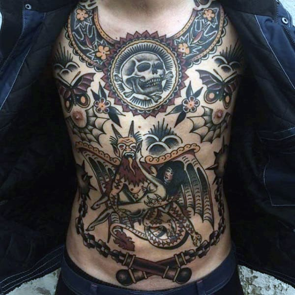 Mens Torso Amazing Traditional American Tattoo