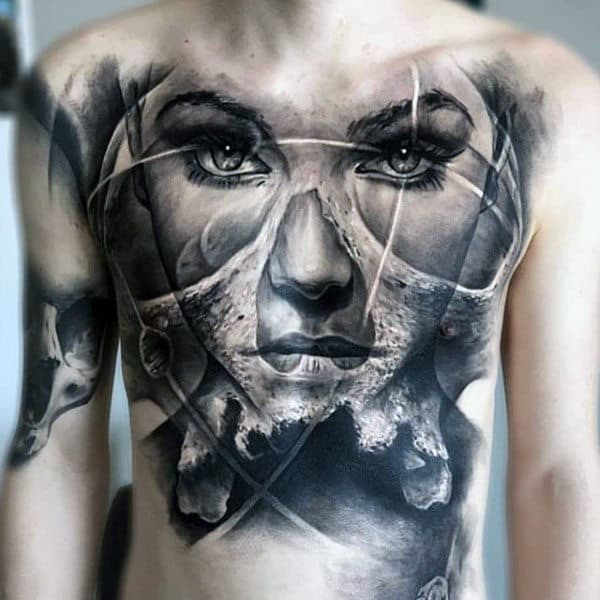 Mens Torso Cool Clear Eyed Female Face Tattoo