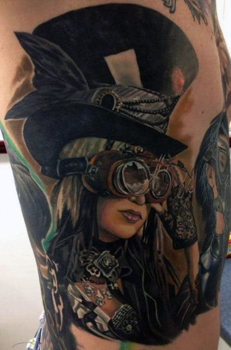 Mens Torso Cool Steampunk Lady With Black Hat Tattoos