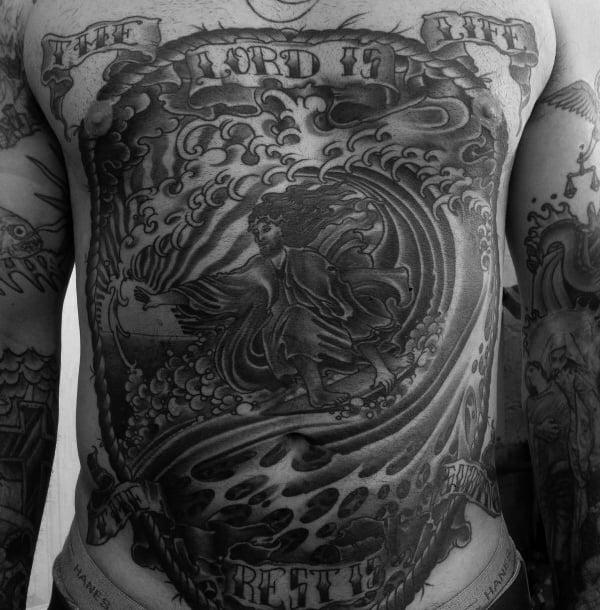 Mens Torso Grey Wonderful Surf Tattoo