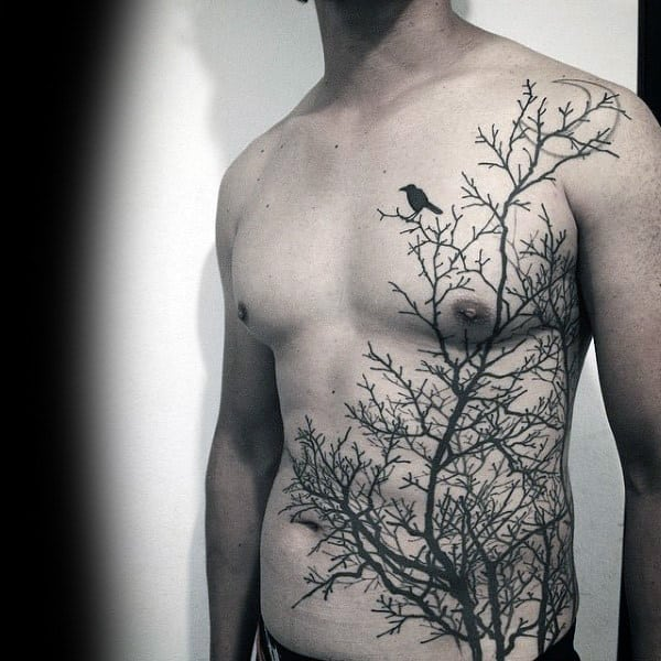 Mens Torso Interesting Tattoo Of Lonely Bird On Leafless Tree