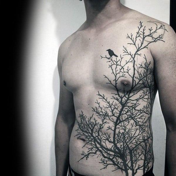Mens Torso Interesting Tattoo Of Lonely Bird On Leafless Tree
