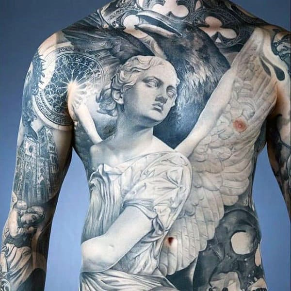 Mens Torso Phenomenal White Marbled Guardian Angel Tattoo