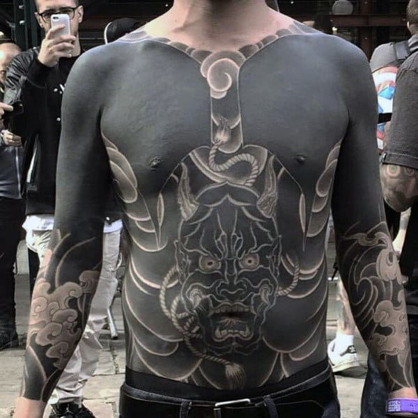 Mens Torso Pitch Black Cool Demon Tattoo