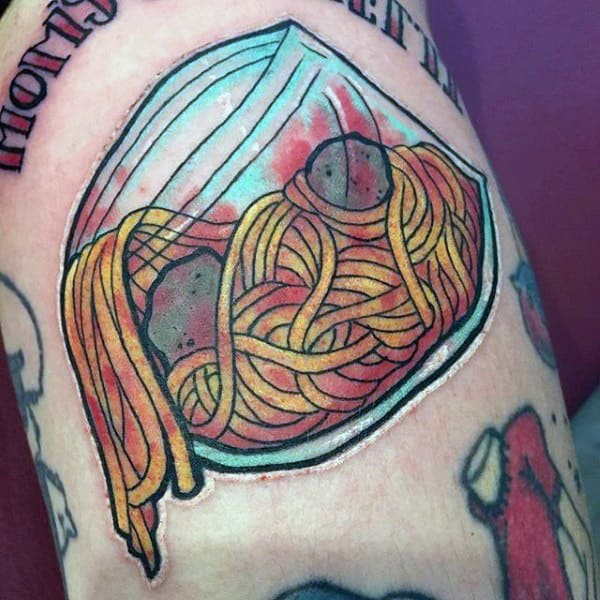 Mens Torso Spaghetti In Glass Jar Food Tattoo