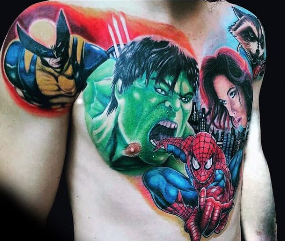 Mens Torso Spiderman And Hulk Tattoo