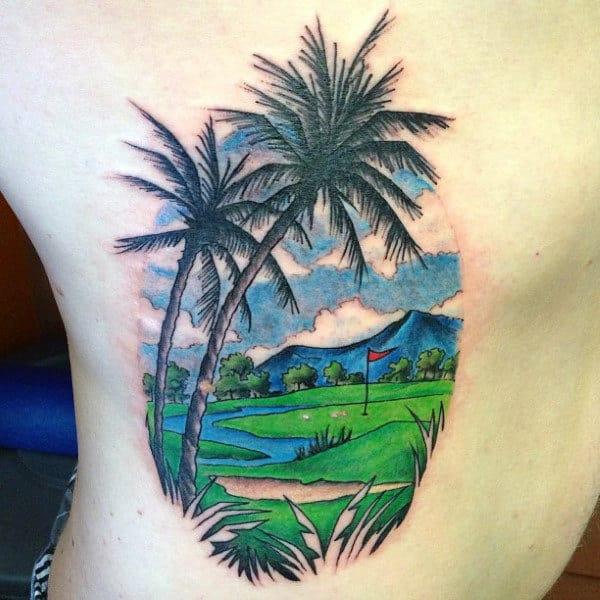 Mens Torso Sunny Golf Course Tattoo