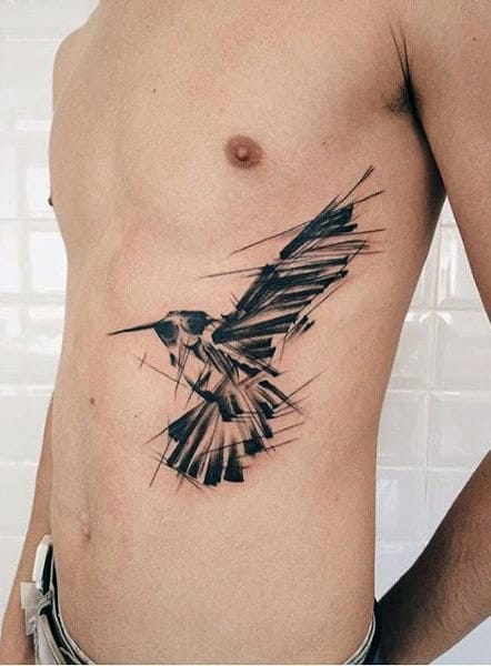 Mens Torso Unique Raven Tattoo