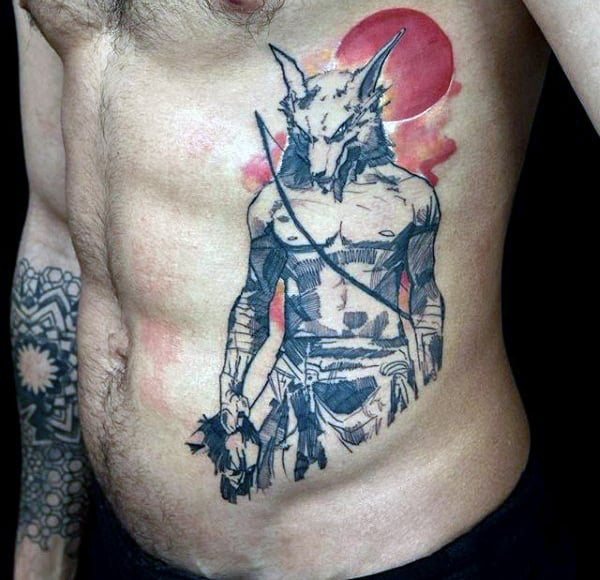 Mens Torso Warrior With Fox Head Tattoo