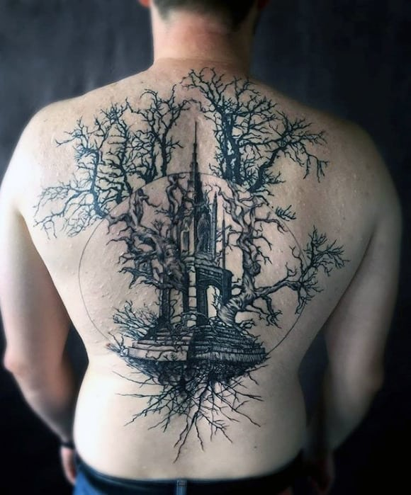 Mens Tower Tree Roots Full Back Tattoo