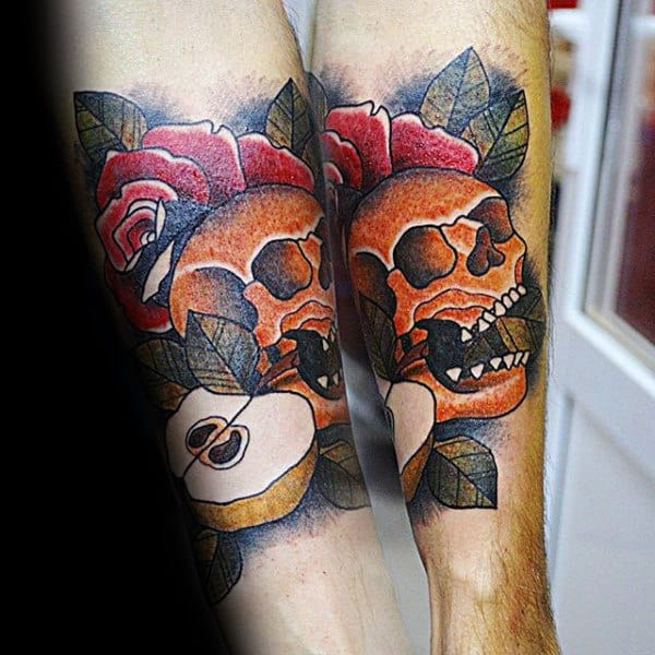 Mens Traditional Apple With Orange Skull And Rose Flower Forearm Tattoo