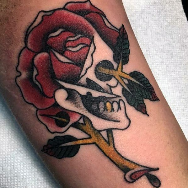 Mens Traditional Arm Rose Flower Skull Morph Tattoo