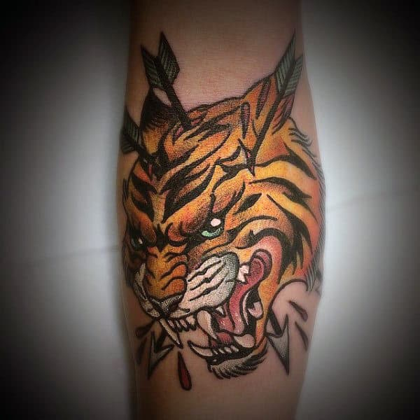 Mens Traditional Arrows Through Tiger Arm Tattoos