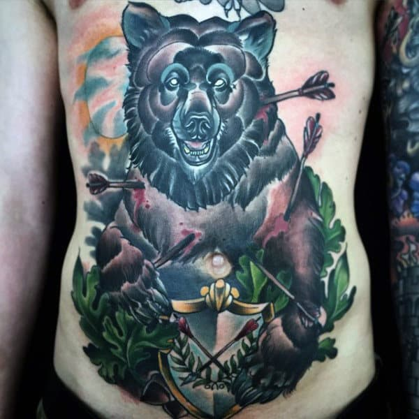 Mens Traditional Bear With Arrows Chest Tattoo Design