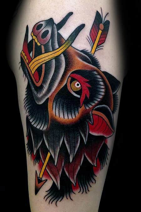 Mens Traditional Boar With Arrow Tattoo Design On Arm