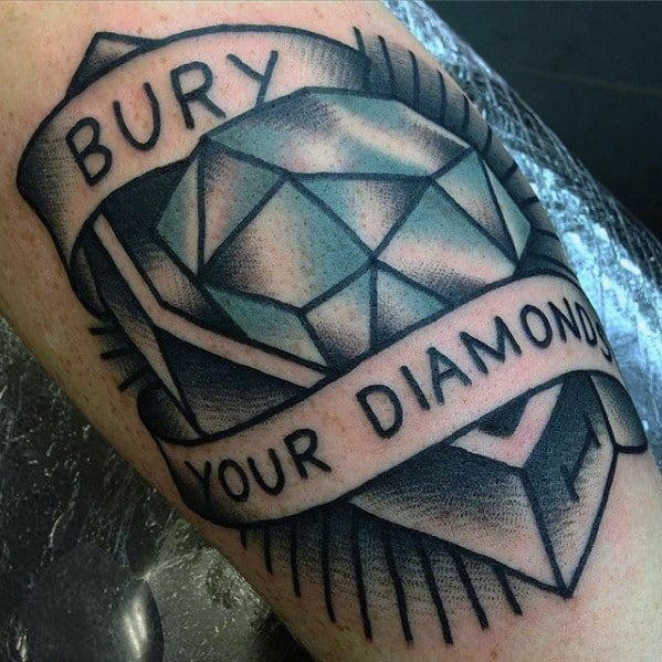 Persistence Motivational Quotes: 50 Traditional Diamond Tattoo Designs For Men