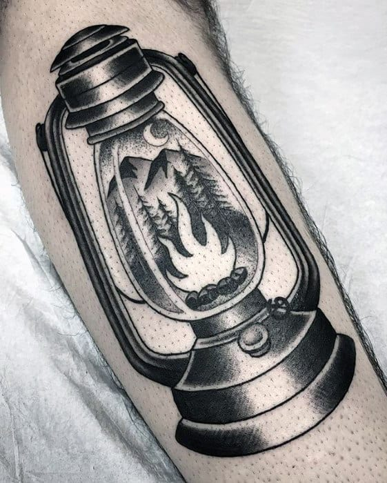 Mens Traditional Camping Lantern Nature Arm Tattoo