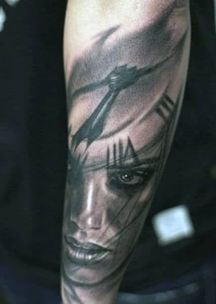 Portrait Face Men's Traditional Clock Tattoo