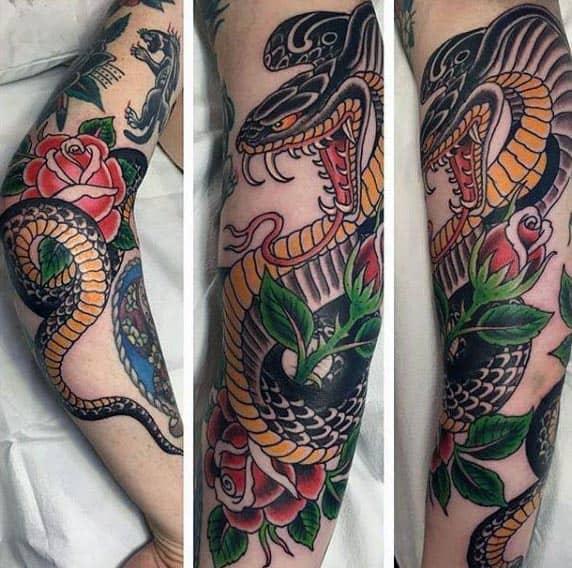 Mens Traditional Cobra Arm Tatoos For Men