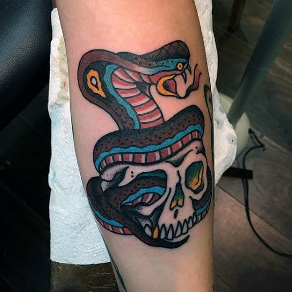 Mens Traditional Cobra Snake With Skull Forearm Tattoo