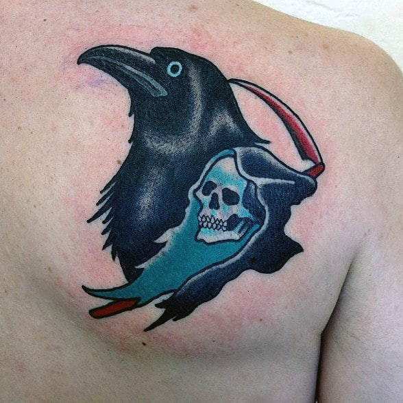 Mens Traditional Crow With Grim Reaper Upper Back Tattoo