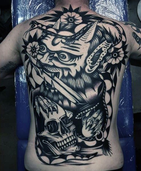 Mens Traditional Demon With Skull Full Back Tattoo