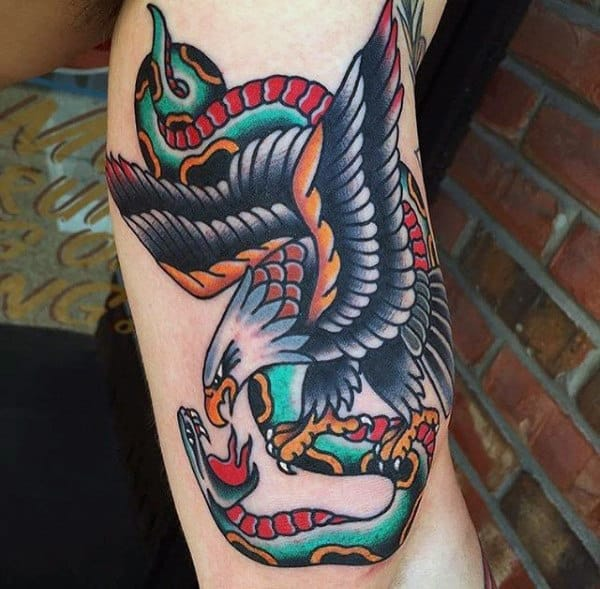 Mens Traditional Eagle And Snake Inner Arm Bicep Tattoo Ideas
