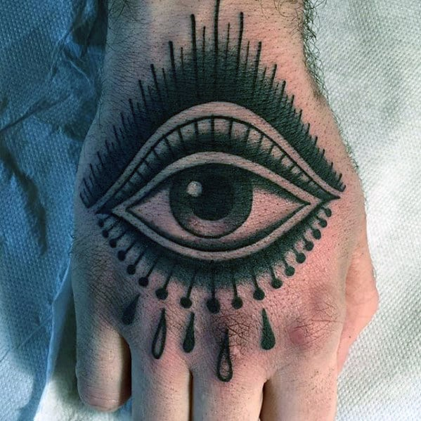 Mens Traditional Eye With Tears Hand Tattoo