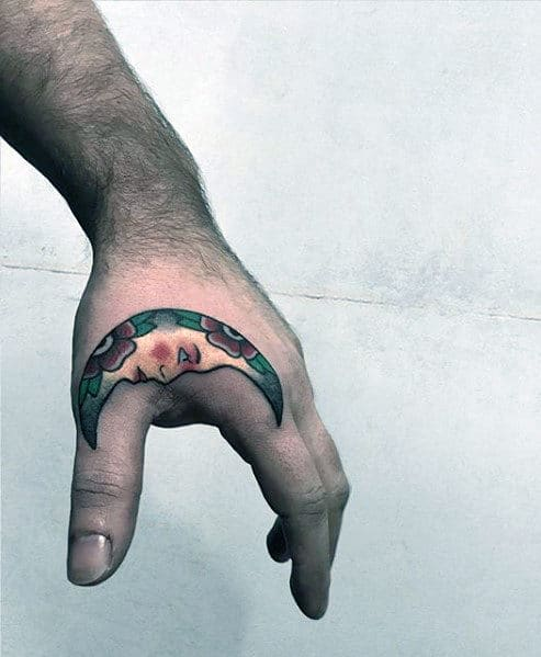 Mens Traditional Half Moon Side Of Hand Tattoo