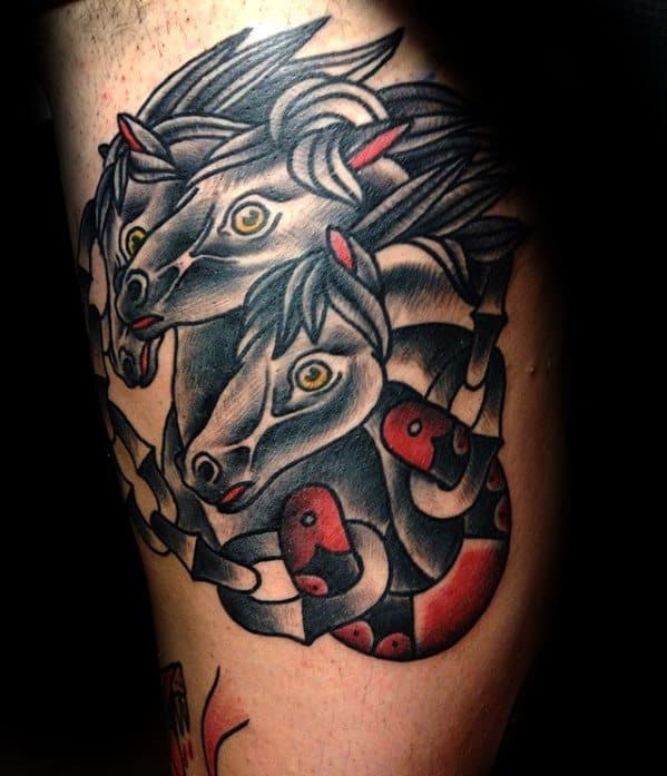 Mens Traditional Horse Tattoo Design Inspiration