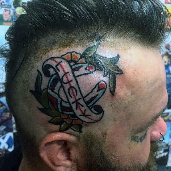 Mens Traditional Horseshoe Lucky Head Tattoo