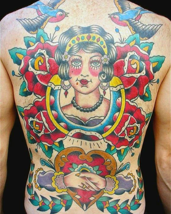 Mens Traditional Horseshoe With Female Portrait Back Tattoo