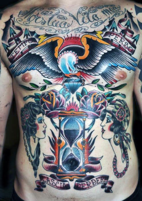 Mens Traditional Hourglass Bald Eagle Full Chest Tattoo