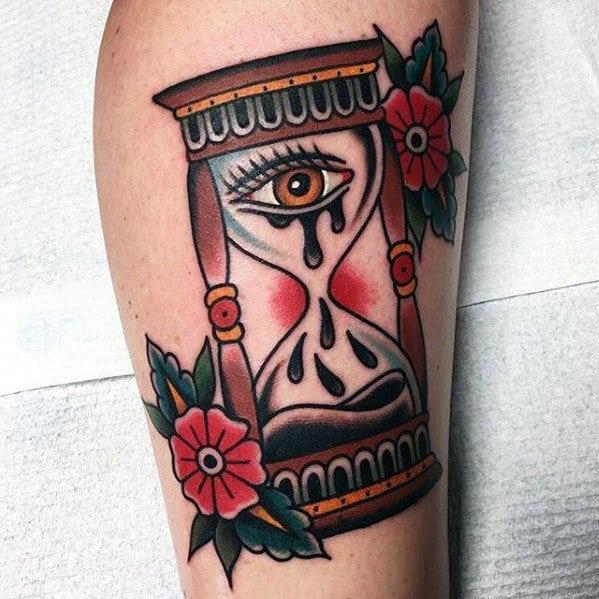 Mens Traditional Hourglass With Eye Tears Leg Tattoo