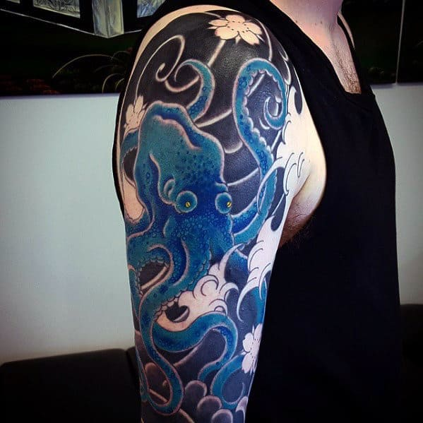 Mens Traditional Japanese Blue Octopus Half Sleeve Tattoos