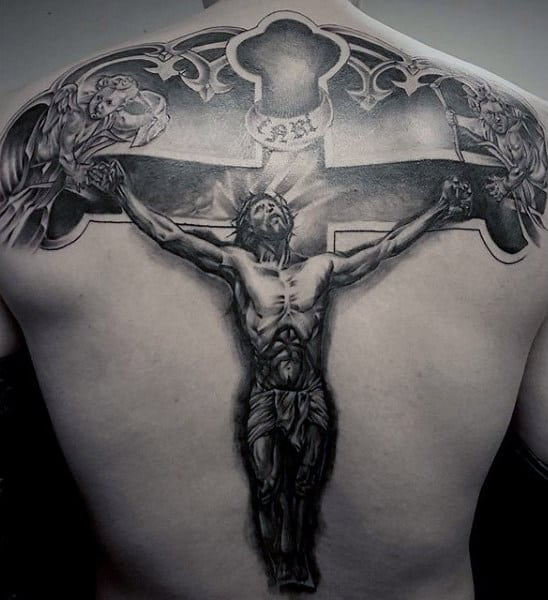 Mens Traditional Jesus Christ On Cross Back Tattoo