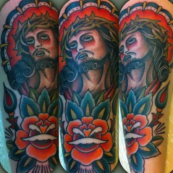 Mens Traditional Jesus Portrait Forearm Tattoo
