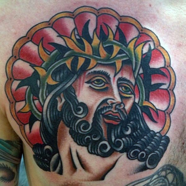 Mens Traditional Jesus Upper Chest Tattoo