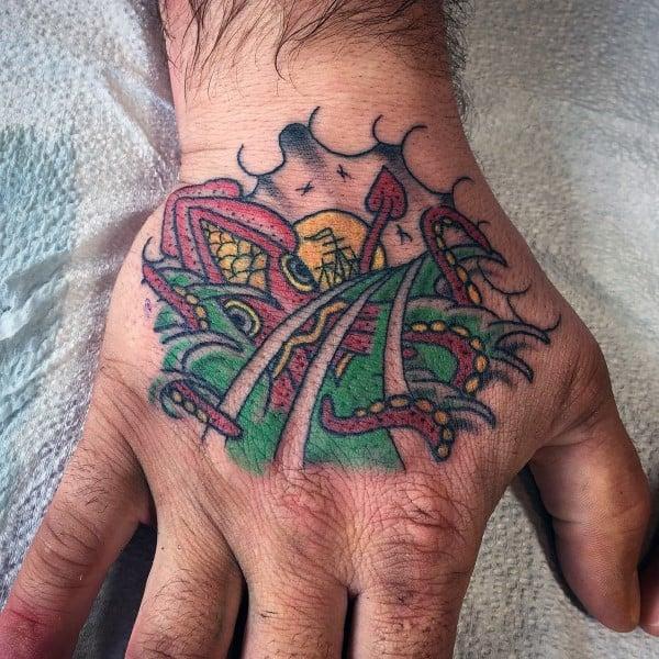 Mens Traditional Kraken Hand Tattoos