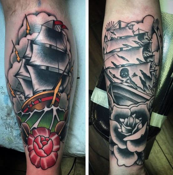 Mens Traditional Leg Sailing Ship Tattoo Ideas