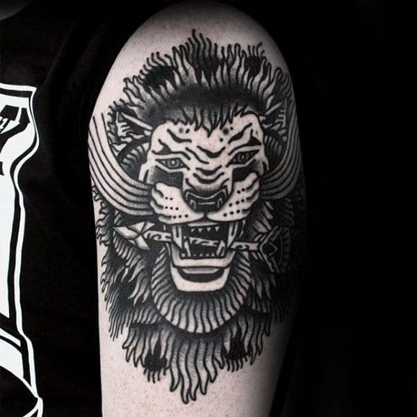 Mens Traditional Lion With Arrow In Teeth Arm Tattoo