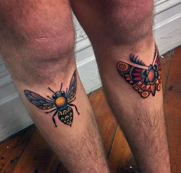 Mens Traditional Moth Tattoo Designs On Shins