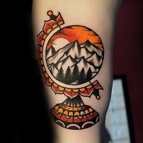 Mens Traditional Mountain Tattoo Design Ideas