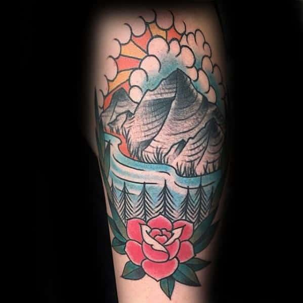 Mens Traditional Mountain Tattoo Design Inspiration
