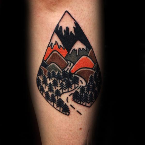 40 Traditional Mountain Tattoo Designs For Men Old