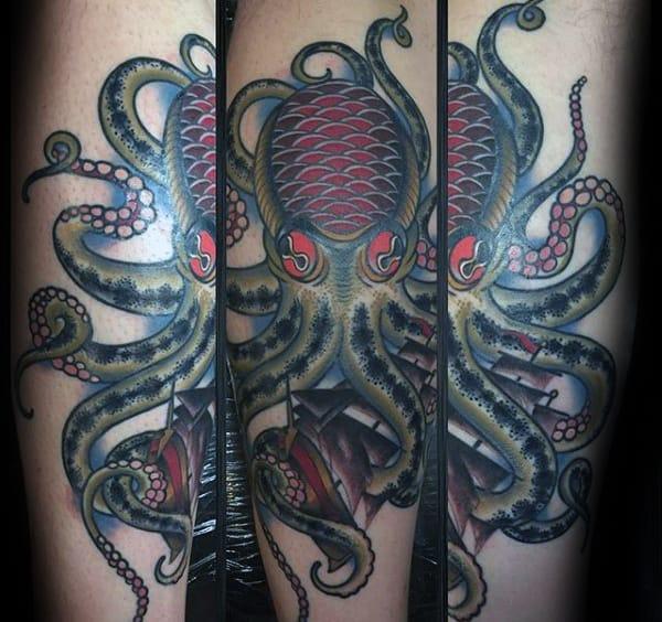 Mens Traditional Octopus Old School Leg Tattoos