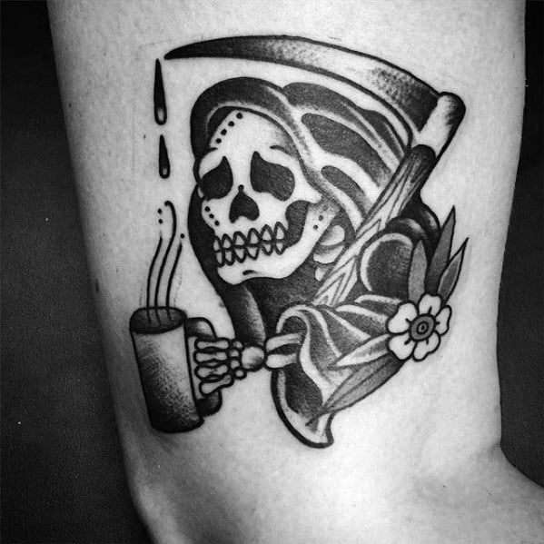 Mens Traditional Old School Arm Tattoo With Grim Reaper Coffee Design