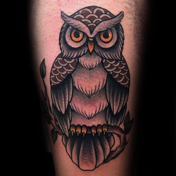 Mens Traditional Owl Sitting On Tree Branch Arm Tattoos