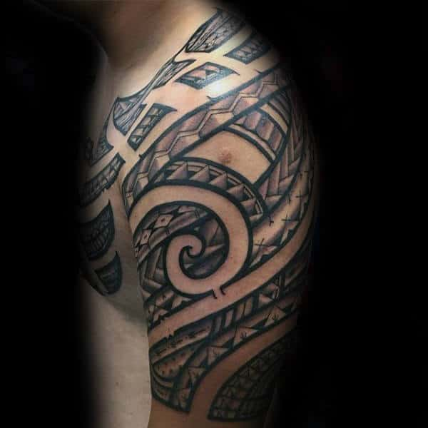 Mens Traditional Polynesian Tribal Shoulder Tattoo Designs