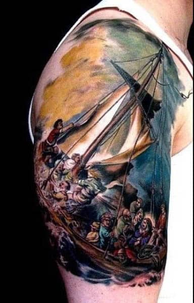 Mens Traditional Sailboat Tattoo